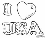 Coloring pages I Love USA