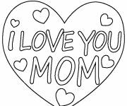 Coloring pages I Love You Mom to decorate