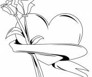 Coloring pages Rose and Heart