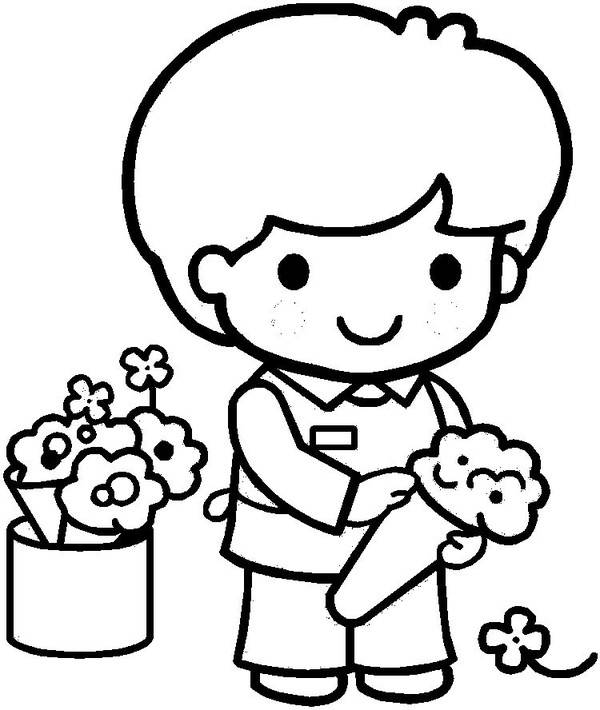 Free coloring and drawings A florist Coloring page