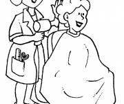 Free coloring and drawings Hairdresser and client Coloring page