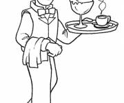Free coloring and drawings Server profession Coloring page