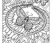 Free coloring and drawings Adult Butterfly difficult Coloring page