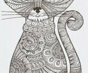 Free coloring and drawings Adult Cat Art Coloring page