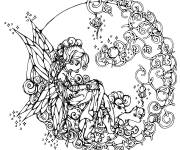 Free coloring and drawings Adult Mandala Girl Difficult Coloring page