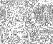 Free coloring and drawings Calming but complex adult mandala Coloring page