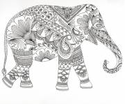 Free coloring and drawings Elephant Anti-Stress Coloring page