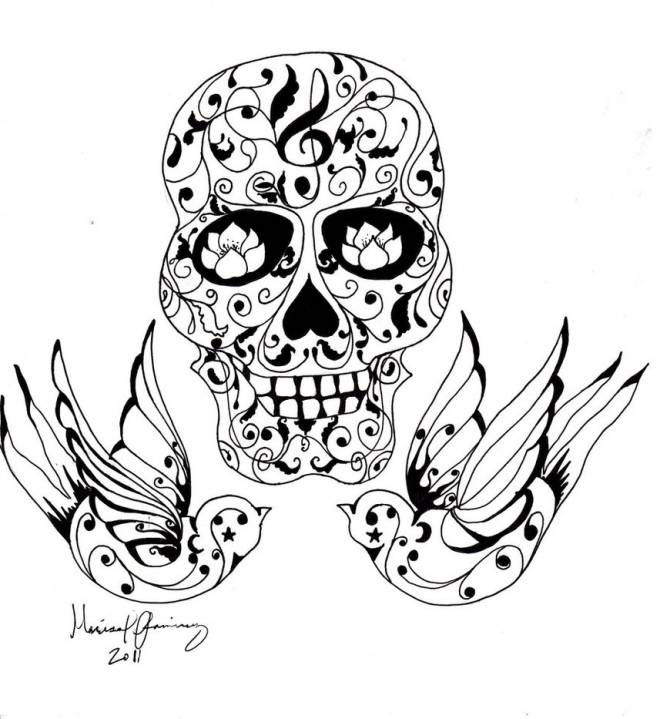 Free coloring and drawings A beautiful tattoo for adults Coloring page