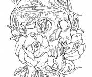 Coloring pages Skull and Roses Tattoo