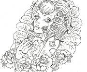 Coloring pages Tattoo for adults