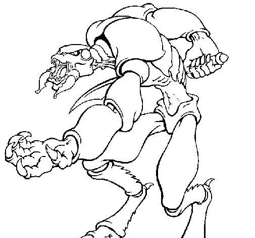 Free coloring and drawings A scary alien Coloring page