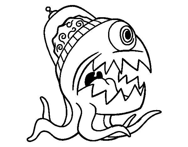 Free coloring and drawings Alien Bizarre Coloring page