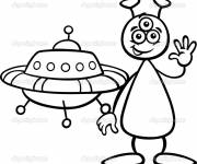 Free coloring and drawings Alien greets you Coloring page