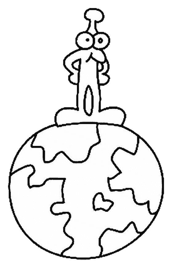 Free coloring and drawings Alien on Earth Coloring page