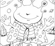 Coloring pages Funny alien to cut out