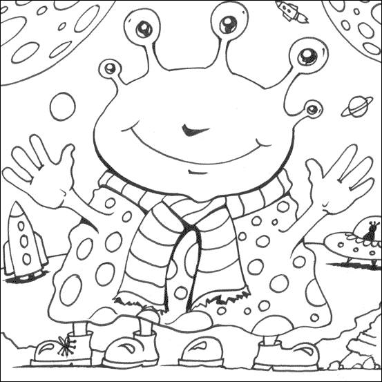 Free coloring and drawings Funny alien to cut out Coloring page