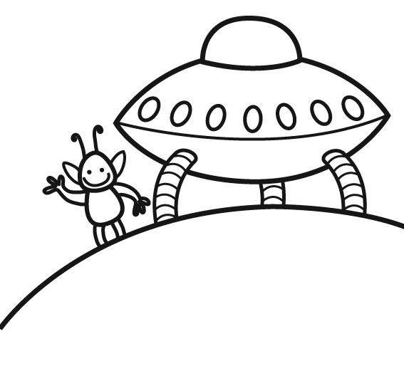Free coloring and drawings Space shuttle from an extraterrestrial Coloring page