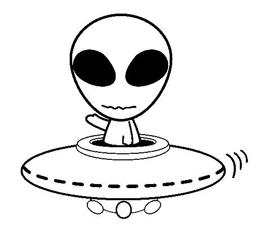 Free coloring and drawings UFO alien Coloring page