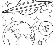 Coloring pages UFO arrives at Earth