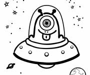Coloring pages UFOs and comic aliens
