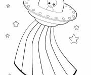Coloring pages UFOs and Rainbow