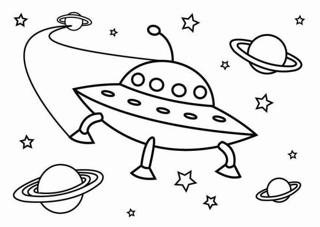 Free coloring and drawings UFOs and the universe Coloring page