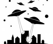 Coloring pages UFOs attacking The City