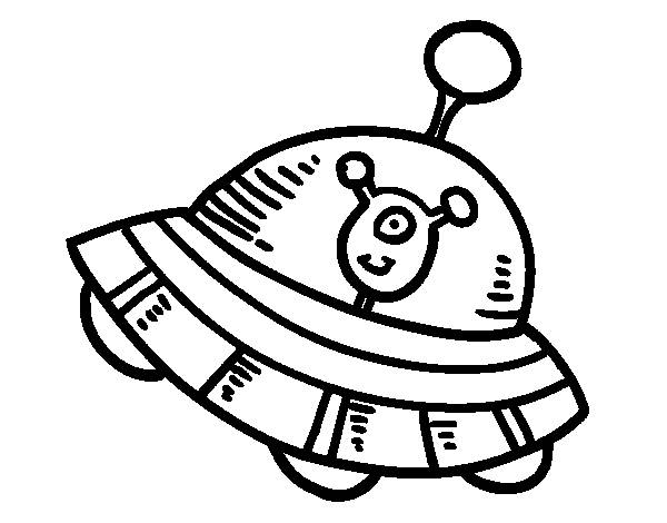 Free coloring and drawings UFOs carrying The Happy Alien Coloring page