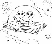 Free coloring and drawings UFOs on a Book Coloring page