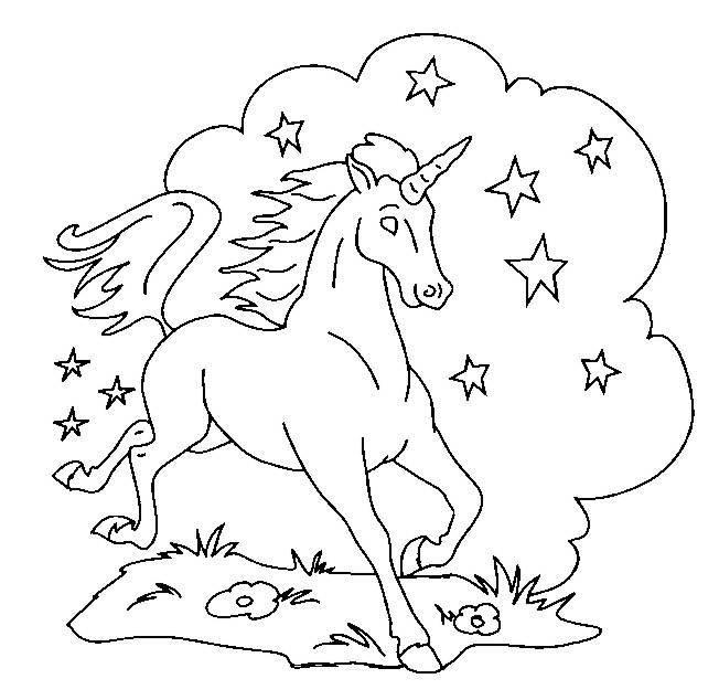 Free coloring and drawings A galloping unicorn Coloring page
