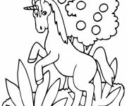Coloring pages Unicorn jumping