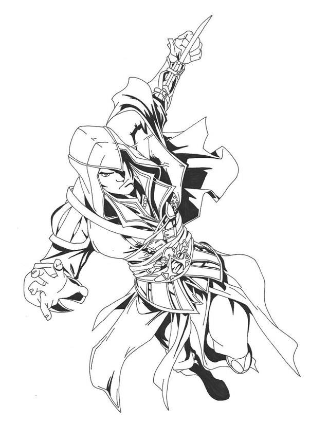 Free coloring and drawings Assassin's Creed 3 Video Game Coloring page