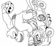 Coloring pages Donkey Kong in his car