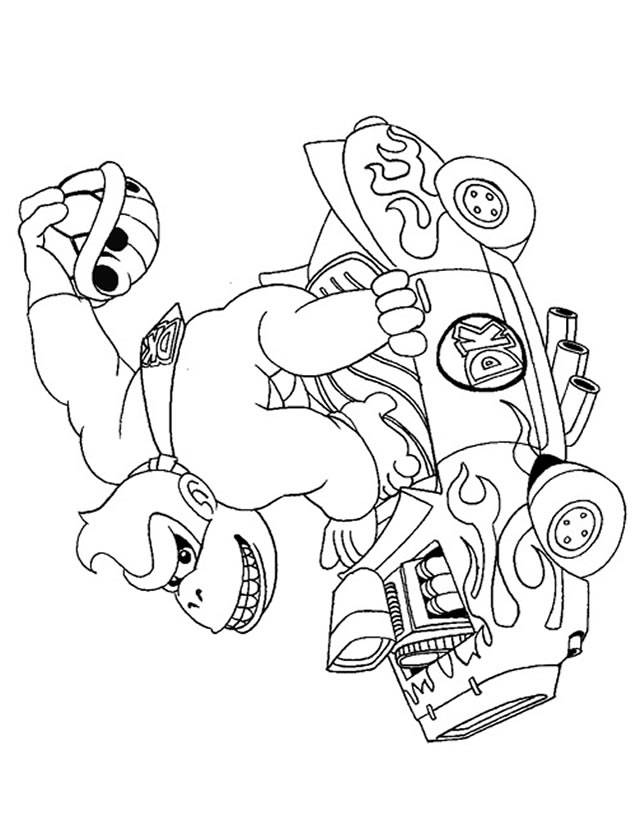 Free coloring and drawings Donkey Kong in his car Coloring page