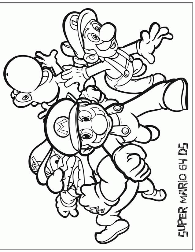 Free coloring and drawings Mario video games vector Coloring page