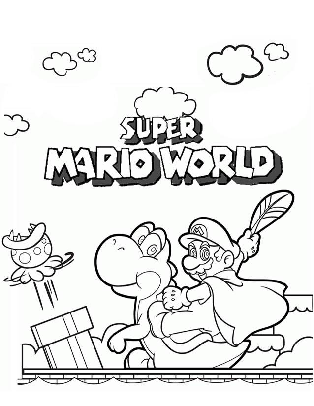 Free coloring and drawings video games Super Mario World Coloring page