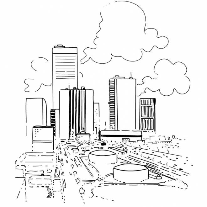 Free coloring and drawings A modern city Coloring page