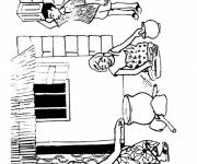 Coloring pages African family