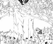 Coloring pages African village