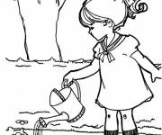 Coloring pages Girl Watering Flowers in the Countryside