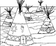 Coloring pages Indian village