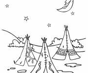 Coloring pages Indian village to cut out