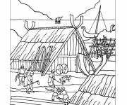 Coloring pages Medieval village