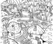 Coloring pages Smurf free vilage