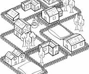Coloring pages Stylized village