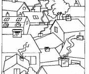 Coloring pages Village Houses