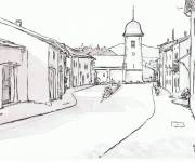 Coloring pages Village in black and white