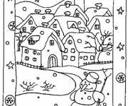 Coloring pages Village in Winter