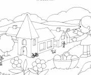 Coloring pages Villages in color