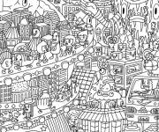 Coloring pages Anti-Stress City for Adults